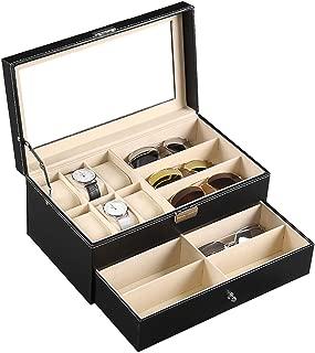 AUTOARK Leather 6 Watch Box Jewelry Case and 9 Piece Eyeglasses Storage and Sunglass Glasses Display Drawer Lockable Case Organizer,Black,AW-048
