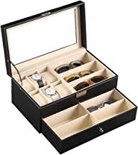 AUTOARK Leather Eyeglasses Sunglass Jewelry Watch Display Drawer Lockable Case Organizer 6 Slots + 9 Compartments Black AW...