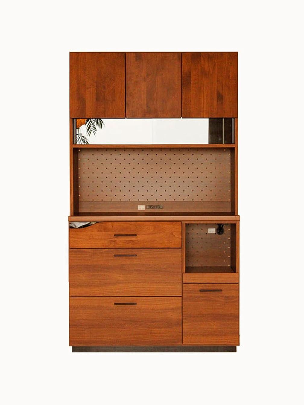 事故湿気の多い区別する大川家具 東馬 キッチンボード QUATRO 105cm幅 ブラウン 162329