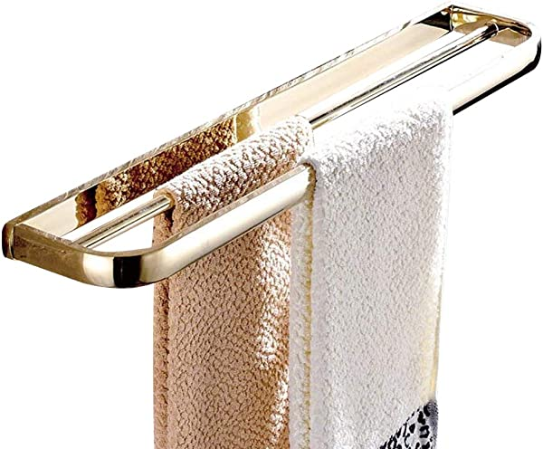 Leyde Gold Finish Solid Brass Double Towel Bars Wall Mounted Towel Rack Towel Hanger