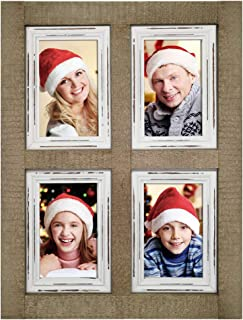 IKEREE Collage Picture Frames 4x6 4 Opening from Rustic Distressed Wood,Farmhouse,Shabby Chic,Fits Four Photos 4x6, Ready to Hang on the Wall