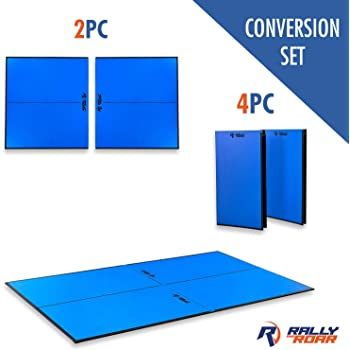 """Indoor Table Tennis Conversion Top with Net Set by Rally & Roar – 2 Piece (5/8"""" Thick) or 4 Piece (1/2"""" Thick) Set - Quick Set Up, Portable Tops, Space Saving Storage, Regulation Tournament Size"""
