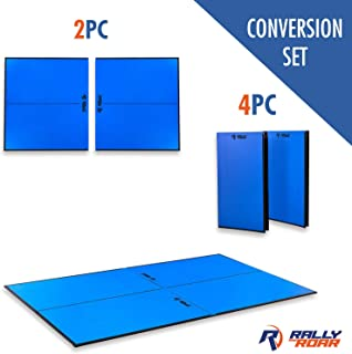 "Indoor Table Tennis Conversion Top with Net Set by Rally & Roar – 2 Piece (5/8"" Thick) or 4 Piece (1/2"" Thick) Set - Quick Set Up, Portable Tops, Space Saving Storage, Regulation Tournament Size"