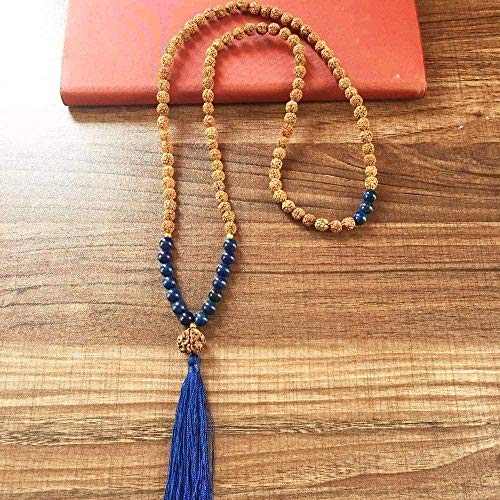 Yiffshunl Necklace 2 Pieces 108 Beads Necklace Third Eye Chakra Yoga Prayer Beads Bohemian Bodhi Tassel Necklace Chain Length 82 5Cm