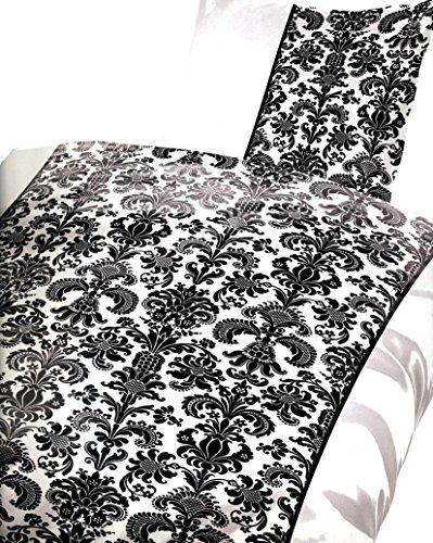 4 tlg. / 2x2 tlg. Bettwäsche 135 x 200 cm in weiß/schwarz aus Microfaser Gestreift Sparset Doppelpack Modern Barock mit Reißverschluss