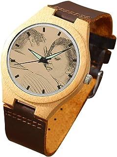 Jewelora Relojes Hombre Reloj Madera Personalizado Foto y Grabado Punteros Cuarzo con Correa Cuero Regalo para Familia Hom...