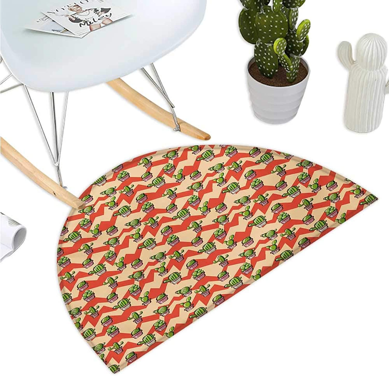 Cactus Semicircular Cushion Geometric Background with Zigzags Mexican Inspirations Plant Arrangement Botanical Bathroom Mat H 43.3  xD 64.9  Multicolor