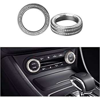 1797 Compatible Clock Cap for Mercedes Benz Accessories Parts Bling W205 W213 C217 C E S Class AMG Round Center Console Panel Covers Decals Sticker Interior Inside Decorations Women Men Crystal Silver