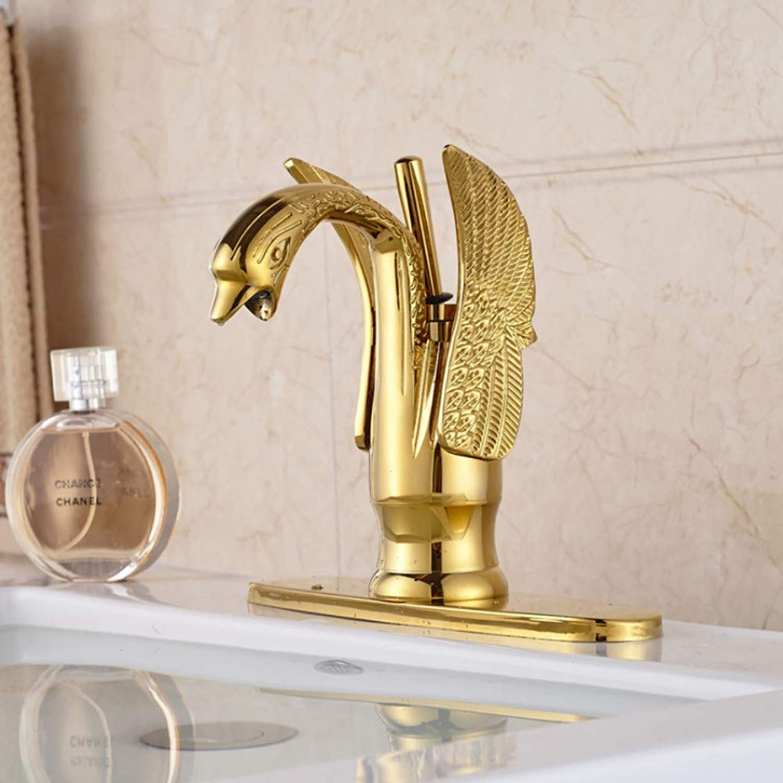 Lddpl golden Deck Mount Brass Lavatory Sink Mixer Taps Bathroom Vessel Sink Faucet Swan Shape + Hole Cover Plate