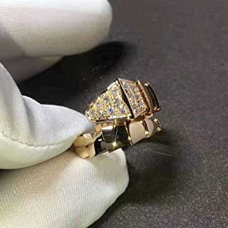 Serpenti One - Coil Ring in 14k Rose Gold with Round Cut Pave Diamonds Engagement Wedding Ring in All Size