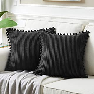 Fancy Homi Pack of 2 Black 20x20 Inch Decorative Throw Pillow Covers with Pom-poms , Soft Corduroy Solid Square Cushion Ca...