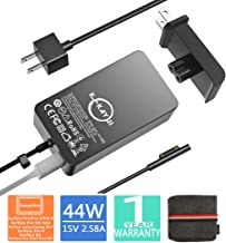 Surface Pro Surface Laptop Charger,44W 15V 2.58A Power Supply Compatible Microsoft Surface Pro 6 Pro 5 Pro 4 Pro 3 Surface Laptop 2 Surface Go&Surface Book with 6.2 Ft Cable Wall Plug and Travel Case