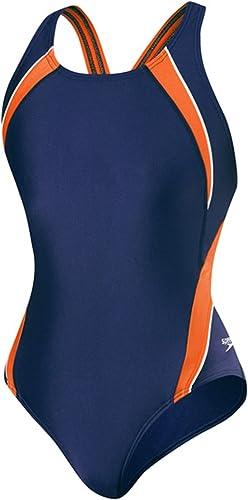 Speedo Powerflex Eco Taper Splice Pulse Back Onepiece maillot de bain, Orange Navy, 26