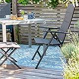 Vanage Polywood Aluminium Gartentisch stabil + pflegeleicht 90x90cm silber - 6