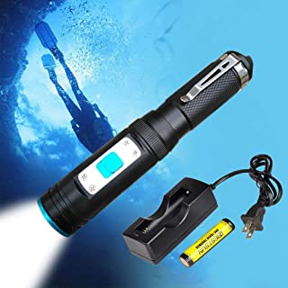 BESTSUN Diving Flashlight Scuba Underwater Light, Small Waterproof Dive Torch 1000 Lumen XM-L2 LED Submarine Light with Rechargeable Battery and Charger for Outdoor Under Water Sports Snorkeling