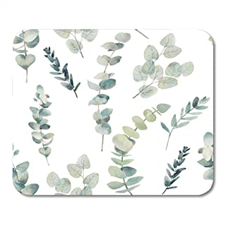 Semtomn Gaming Mouse Pad Watercolor Eucalyptus Branches Seamless Pattern Hand Painted Floral Texture with 9.5