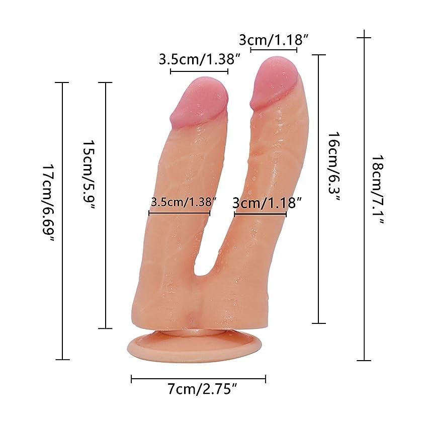 フィット言う交換可能JCSY 両面大きなおもちゃ本物の肌触り柔らかい柔軟なダブルヘッドマッサージ