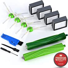 MONATA Replacement Accessories Parts Replenishment Kit for iRobot Roomba i7 i7+ e5 e6 with 4 High Effiiciency Filters 4 Edge Sweeping Brushes 1 Set of Dual Multi Surface Rubber Brushes