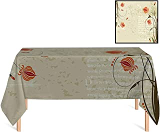 SATVSHOP Decorative Table Top Cover /60x140 Rectangular,Floral Shabby Chic Curved Onion Flower Branches on Grunge Background Design Pale and Army Green Orange.for Wedding/Banquet/Restaurant.
