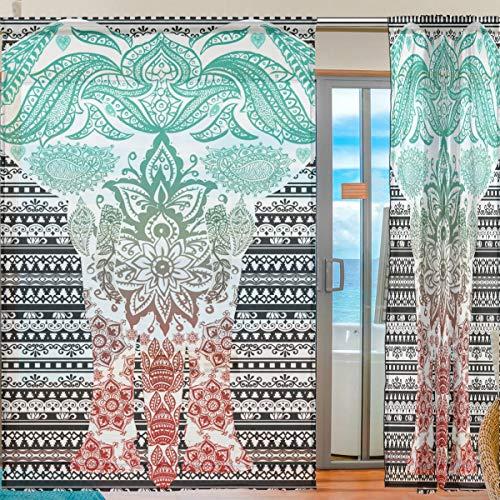 Ahomy Afrika Art Elefant Voile Fenstervorhang Sheer Gardine für Küche Wohnzimmer Schlafzimmer 2 Panels 140 x 198 cm, Polyester, Multi, 139.7x213.4 cm