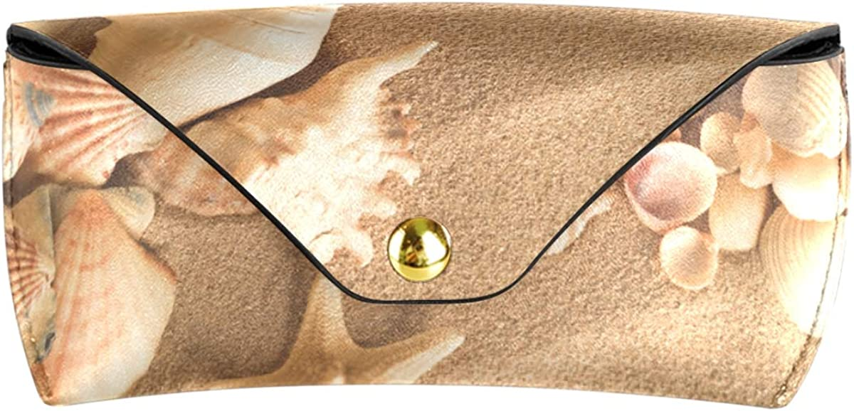 Goggles Bag PU Leather Multiuse present Sea Shells With Sand Conch Portable Sunglasses Case Eyeglasses Pouch