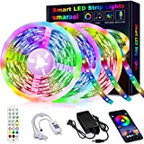 50ft Led Strip Lights, smareal Led Lights Strip Music Sync Color Changing Led Strip Lights App Control and Remote Led Lights for Bedroom Party Home Decoration