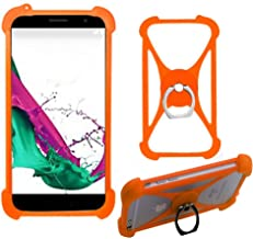 ABCTen Ring Phone Stand Case for Doogee Zoji Z33 X9 Mini X20 X30 X50 X20L X60L Bumper Holder Shockproof Soft Protective Phone Case for Doogee Y6 Max Y300 Y200 Y100 Plus Nova Y100X (Orange with Ring)