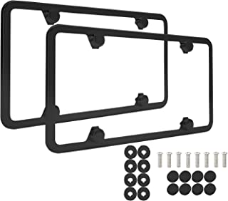 NYLATA Matte Black Stainless Steel License Plate Frames, Sleek Car Accessories, Gorgeous Covers for License Plates, Matte Finish Plate Holder with Bracket, Anti-Theft Screw Caps