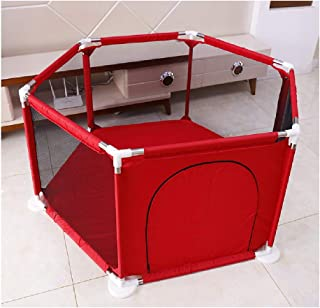 Baby playpen-SYY Toddler Fence Hexagonal Design Stable Structure Easy Install And Carry Simple Design Indoor outdoor Blue Brown Red  Color Red