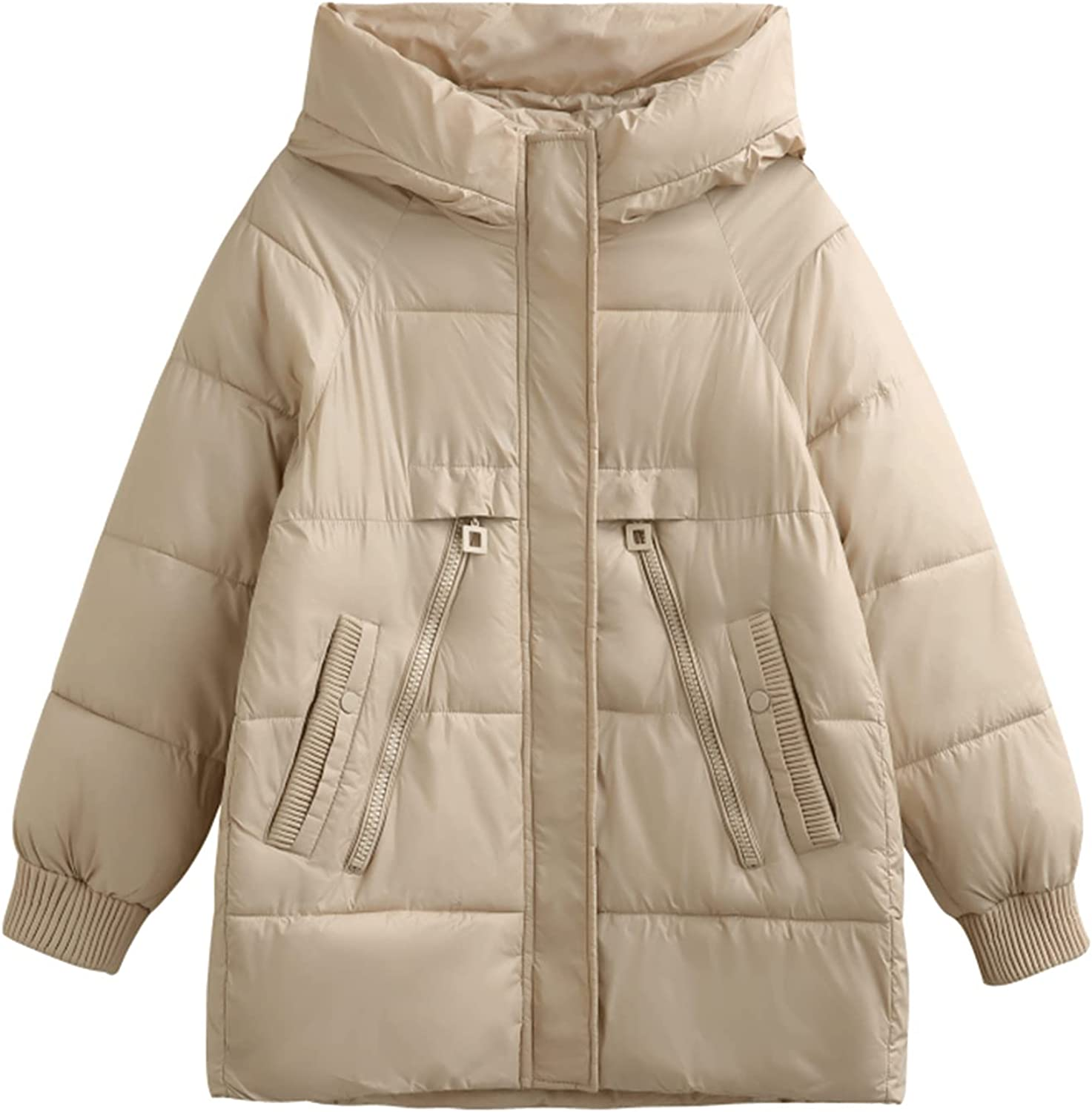 ERTG Womens Cotton Jacket Full Zip Winter Thickened Warm Coat Thicken Quilted with Pocket Hooded Coat Cotton Jacke