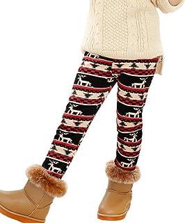 SXSHUN Leggings de Terciopelo Plus con Estampado para Niñas Pantalones Térmicos de Invierno
