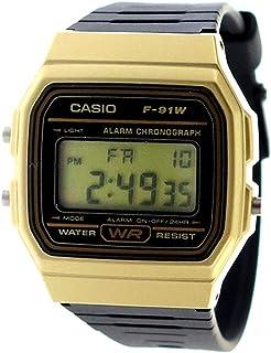 CASIO クオーツ デジタル樹脂ベルト腕時計ユニセックス 腕時計 F-91WM-9A ブラック