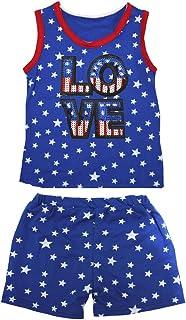 Petitebella Girls' USA Sequin Love Patriotic Stars Red Cotton Shirt Short Set