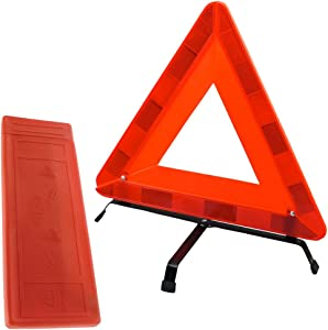 TekBox Folding Car Warning Safety Triangle Protective Plastic Case Reflective Red Hazard Emergency Breakdown For Car  Van  Truck  Lorry