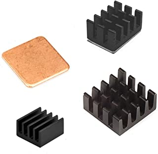 Esycargo Raspberry Pi disipador de calor 3 piezas negro aluminio y cobre para Raspberry Pi 3B+, 3B, Pi 2, Pi modelo B +