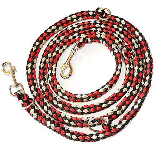 Activity4Dogs Geflochtene Hundeleine, Multileine, 4-Fach verstellbar, 2,80 m lang, rund, Durchmesser 15mm, für größere und große Hunde, Made IN Germany rot-schwarz-weiß