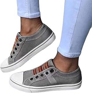 Clenp Chaussures pour Femmes, Femmes Antidérapantes à Bout Rond Plat Chaussures en Toile élastique sans Lacet Baskets De M...