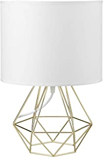 Modern Vintage Style Table Lamps - FRIDEKO Ecopower Minimalist Bedside Lamp Night Light Hollowed Out Cage Shape Base with Fabric Shade Desk Lighting Fixture for Bedroom Living Kids Room, White - Gold