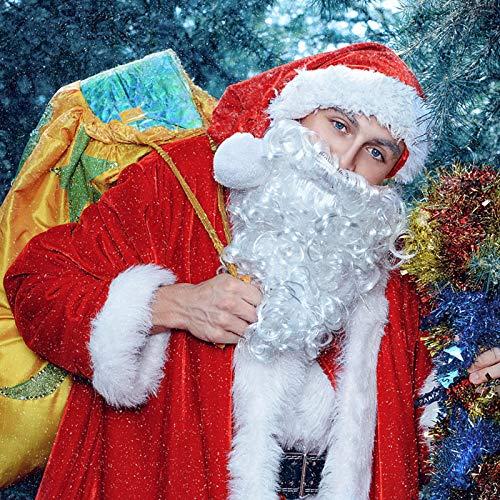 NATEE - Barba di Babbo Natale (Santa Claus), Barba, costume finto barba, colore: bianco, per Natale