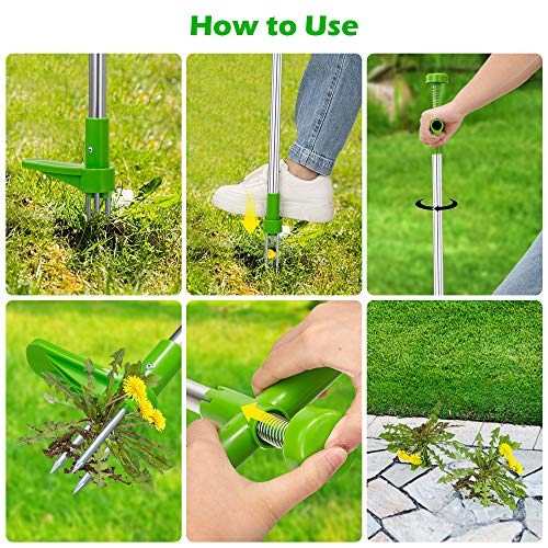 HEART JOURNEY Weed Puller Tool Stand Up, Standing Plant Root Remover, Weed Removal Tool, Stand Weeder with Long Handle, Weed Puller Standing, Standing Root Remover, Weeder Tool,Manual Weeder