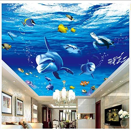 wuyii 3D fotobehang, personaliseerbaar, vlies, wandbehang, 3D Sea World Delphine, vissen schilderen, plafond, muurschildering, 3D-wand, badkamer behang 150 x 120 cm