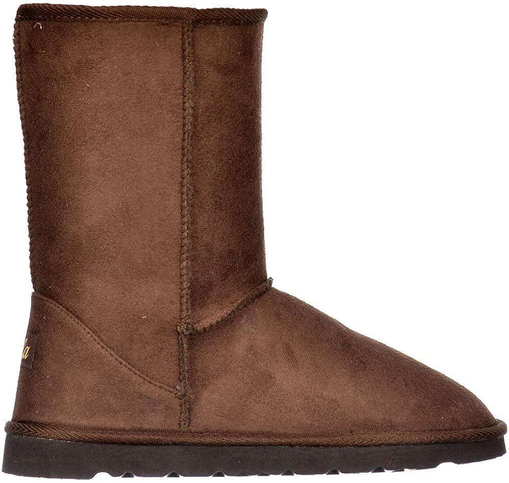 Ella Women's Fur Lined Flat Ankle Winter Slouch Boot
