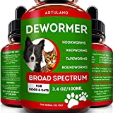 Dewormer for Cats & Dogs - Kills & Prevent Tapeworms - Roundworms - Hookworms - Whipworms - Natural Broad-Spectrum Formula - Senior Pets Puppy, Kitten - Supports Any Breed - Made in USA (3.4 OZ)