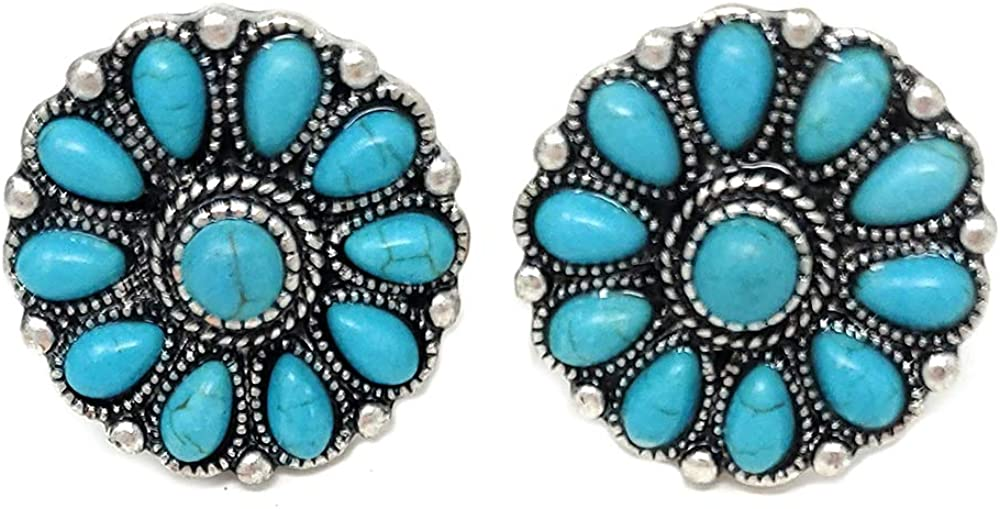 Emulily Western Flower Squash Blossom Clip-ons Earrings Navajo