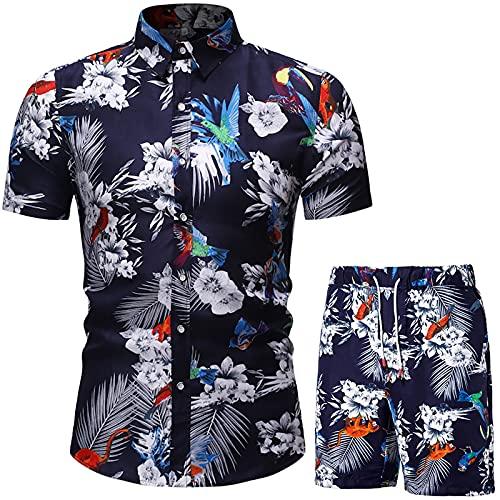 Men's Summer Outfits Short Sleeve Casual Button Down Shirt/Swim Trunks 2 Piece Set Beach Hawaiian Shirts (Black,L)