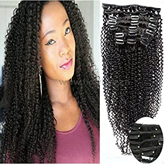 """Art of Love 100% Human Hair Afro Kinky Curly Clip in Hair Extensions Natural Black Most Popular Weaves Clip on Hair Extension Pieces #1b Color 100g for Black Women (12"""")"""