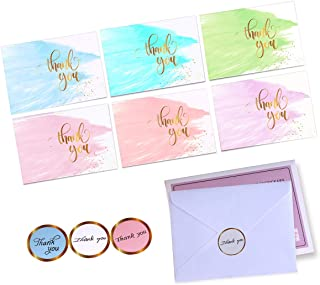 Thank You Cards with Envelopes Watercolor Thank You Notes Greeting Cards 48 Set Bulk & Blank For All Occasions Birthday Gifts Teacher Business Wedding Bridal Guests Graduation Baby Shower