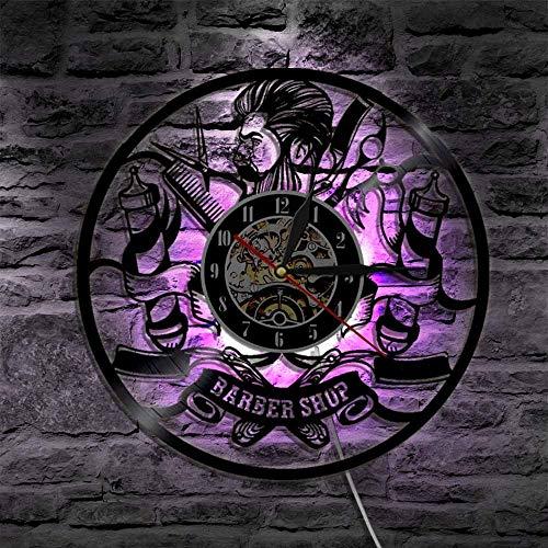 Stella Fella 7 Color LED Barbería Reloj De Cuarzo Retro Disco De Vinilo Decorativo Barra De Reloj De Pared Sala De Estar En Casa Negro Decoración De La Pared