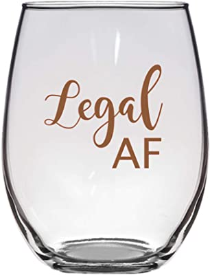 Amazon Com Legal Af Wine Glass 21 Oz 21st Birthday Legal As Fuck 21 Wine Glasses