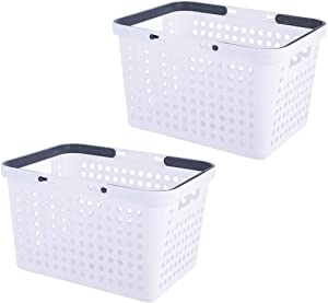 YISION Plastic Storage Baskets,Portable Round Hole Plastic Storage Basket with Handle for Collection of Bedroom Supplies, Kitchen Supplies and Bathroom Supplies - 10.6 x 7.7 x 5.7 Inch(White,5-Pack)